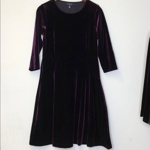 Lands End Purple Velvety Dress Small 6-8